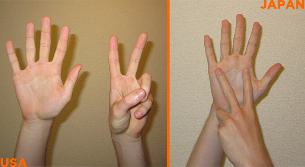 Difference between 7 using your fingers in the USA versus Japan.