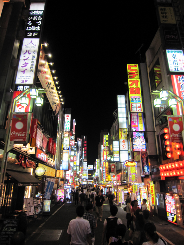 Tokyo's former red-light district.  Tokyo's current annoy neon-light district.