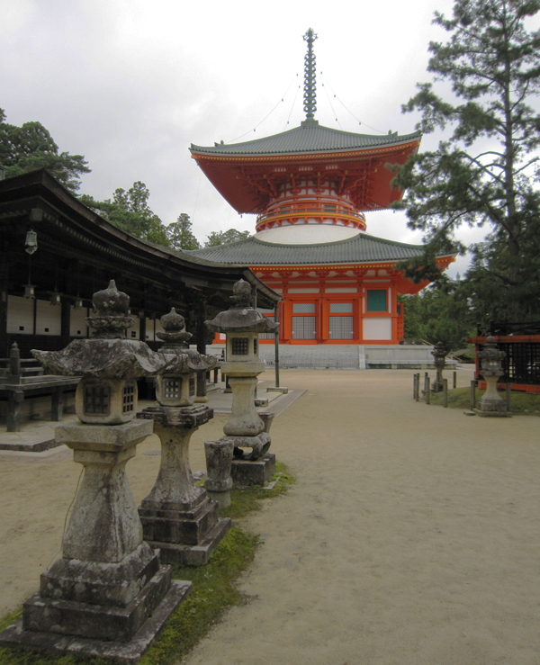 Mt. Koya, orange temple and stone lanterns.