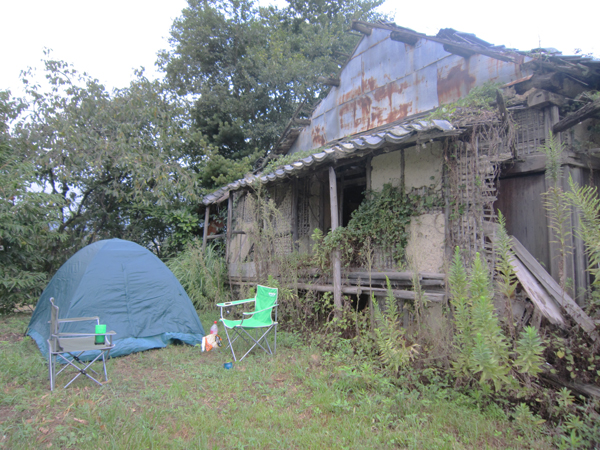 Our campsite next to a derelict Japanese house.