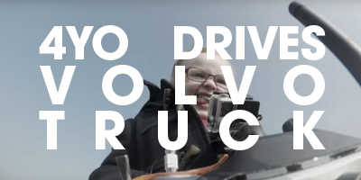 Volvo gives the RC controls of one of their big rigs to a 4 year-old