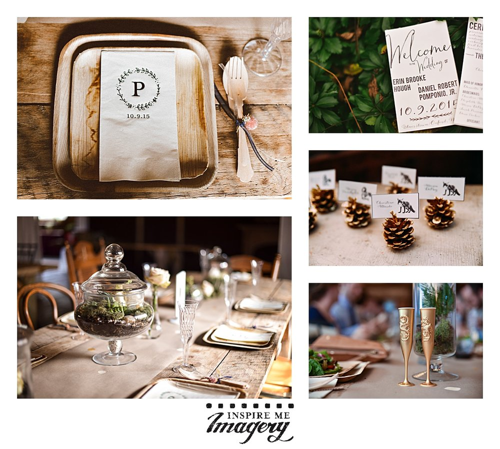 Jack's Barn has beautiful country farm tables for their receptions, and Erin made a lot of the details that gave a beautiful finishing touch to the wedding. Check out the custom monogrammed napkins with the wedding date, the beautiful centerpieces, invitations, adorable gold pinecone seat assignments, and their super cute gold champagne flutes.