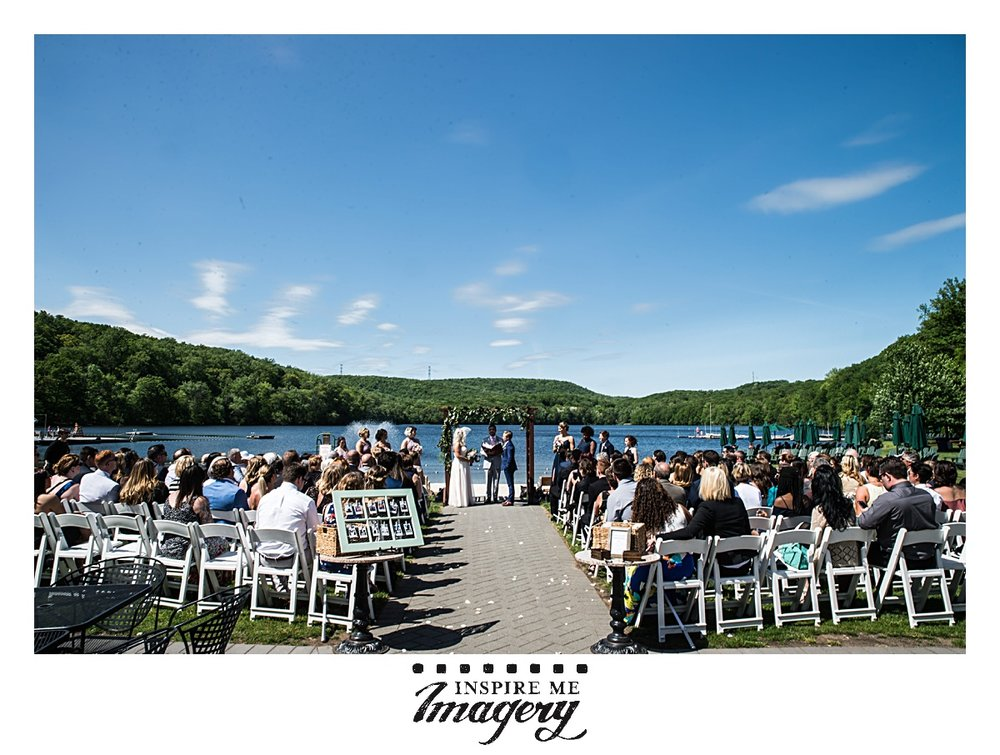 The backdrop of Lake Valhalla is so perfect for a wedding ceremony.