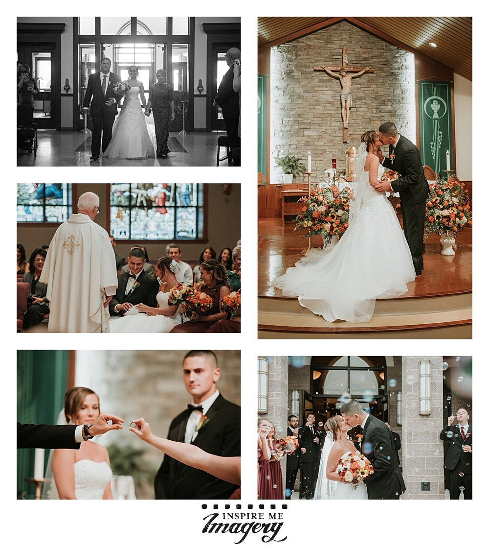 The wedding ceremony took place at Church of the Assumption in Wrightstown, NJ.