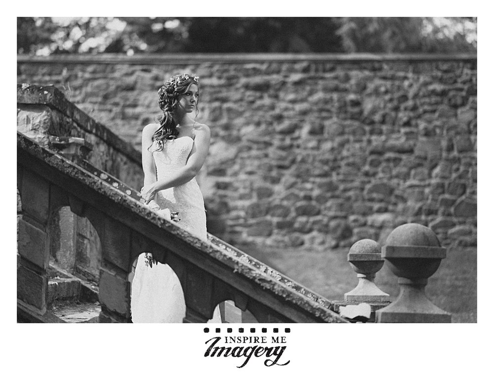 The beautiful staircase made a great spot for a dramatic bridal portrait.