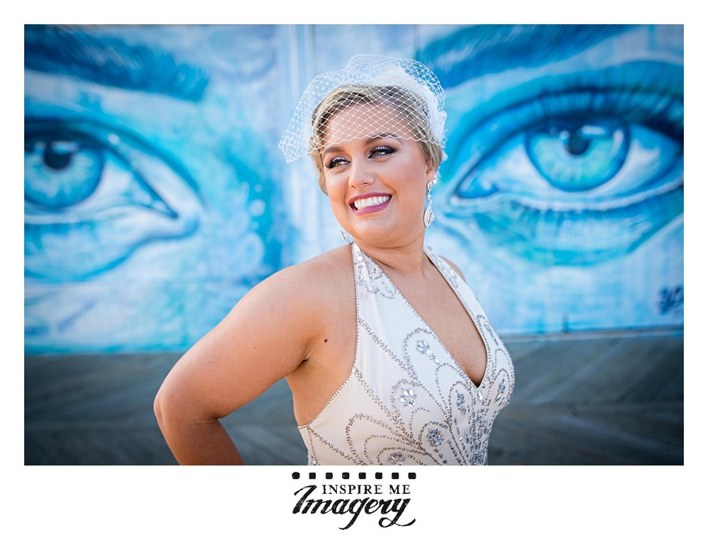 The murals at the boardwalk in Asbury Park are so fantastic and make a great backdrop for wedding day portraits.