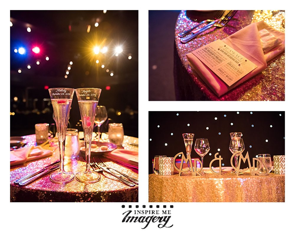 The beautiful sequined gold tablecloth and the lights on the stage made for the most delicious photos of the sweetheart table. They had engraved champagne flutes and a Mr. & Mrs. display in a perfect font to fit the 1920s theme of the wedding.