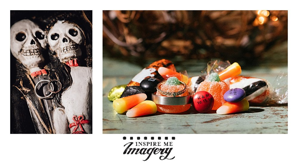 I love the Halloween color palette. I'll take all the oranges, yellows, purples, blacks, and greens that you can throw at me. I love how the rings are featured on the wooden skeletons and in the candy.
