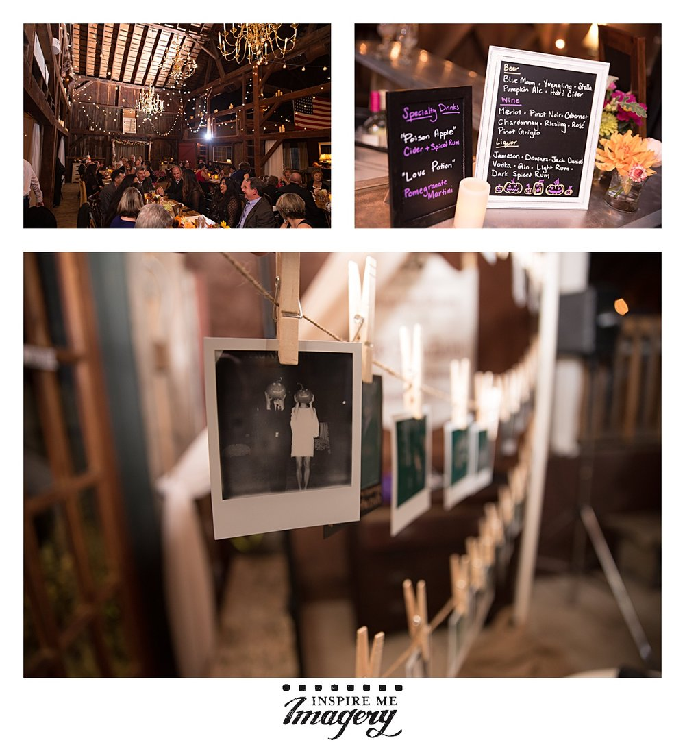 Alright, I'm obviously biased, but I love this shot featuring our Polaroid Pin-Up booth. <3 And look at their signature cocktail menu! Perfect for a Halloween wedding.