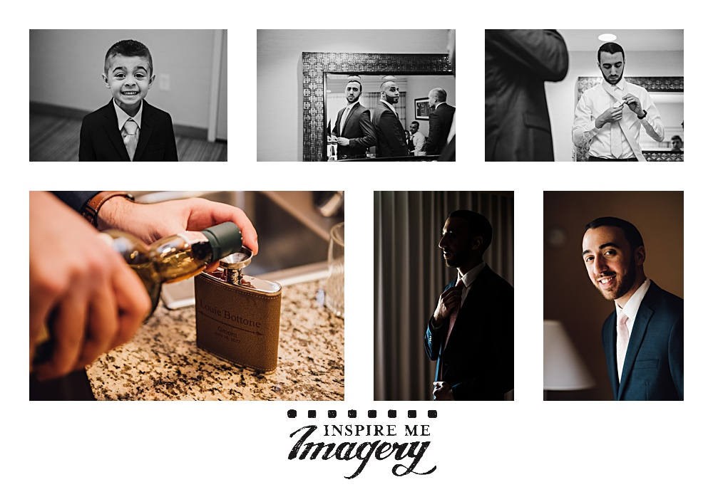 Groom prep photos! The ring bearer was too cute and happy to mug for the camera. Care is taken to get the ties just the right length, and also not to spill a drop when filling up the groom's personalized flask. Finally, portraits by windowlight.