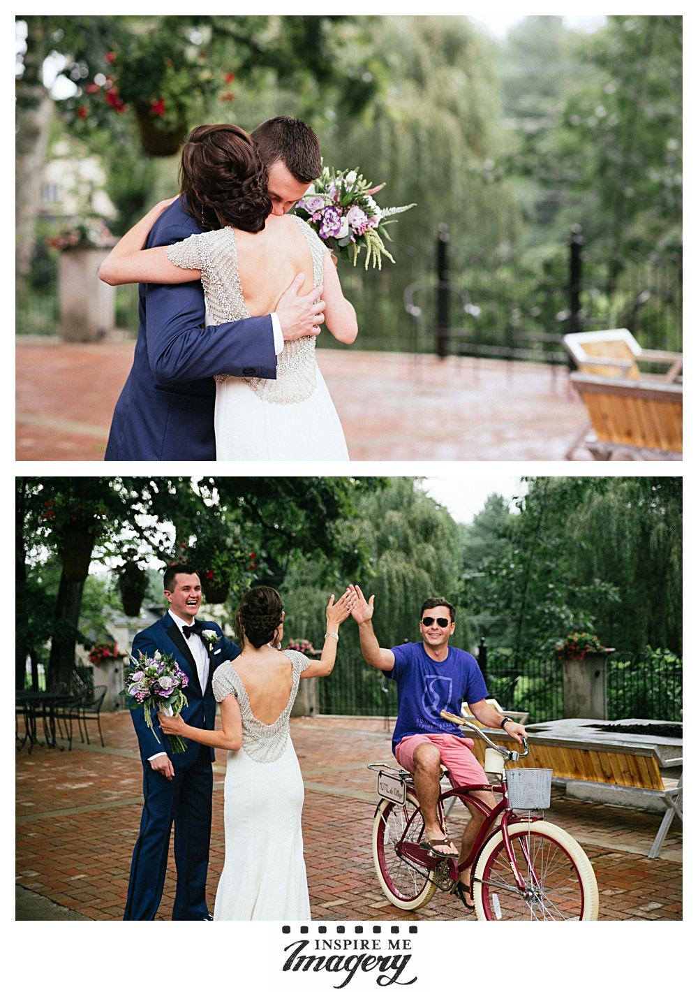An emotional first look followed by high-fives from a guest who happened to be enjoying the grounds nearby.