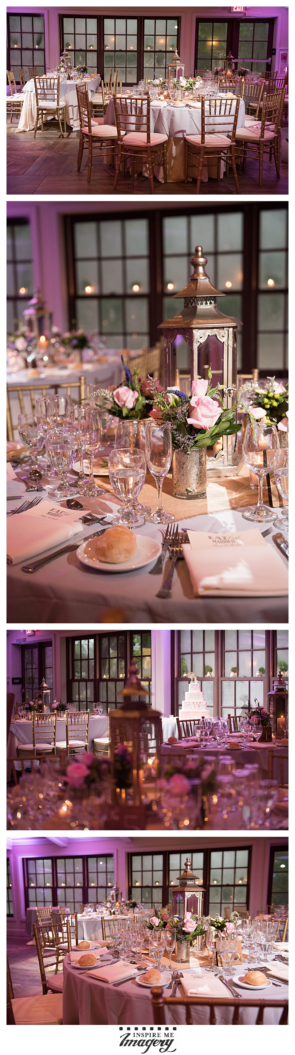 The reception area was gorgeous. The purple uplighting lent a beautiful mood to the candlelit room and complimented the soft flower arrangements. Look at those awesome lantern centerpieces!