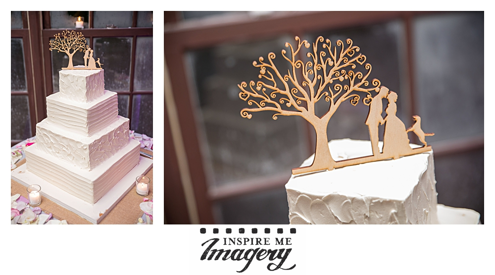 We loved that they incorporated their dog into their wooden cake topper. Too cute.