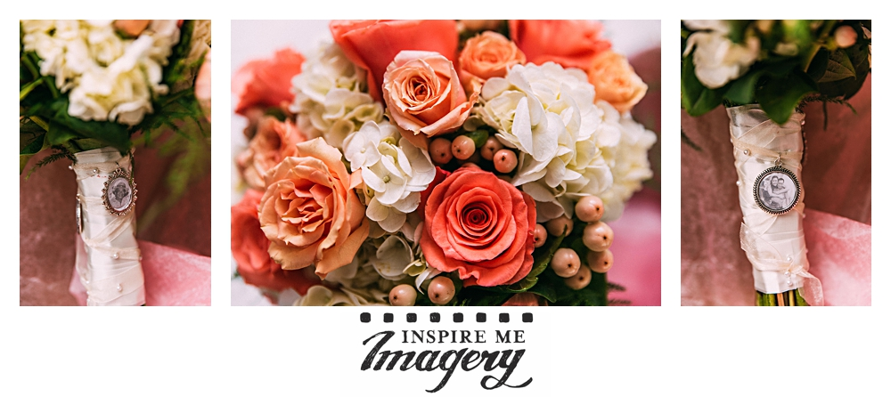 Gorgeous flowers for this summer wedding, and the bouquet incorporates photos.