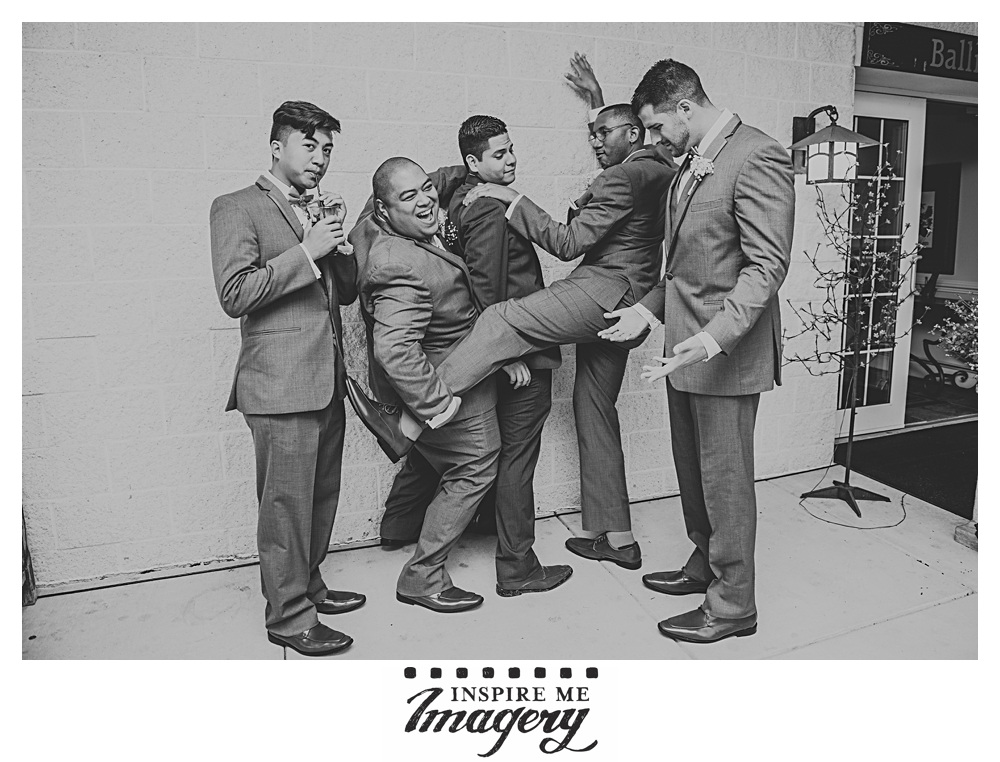 A little more fun with the groomsmen before we head inside.