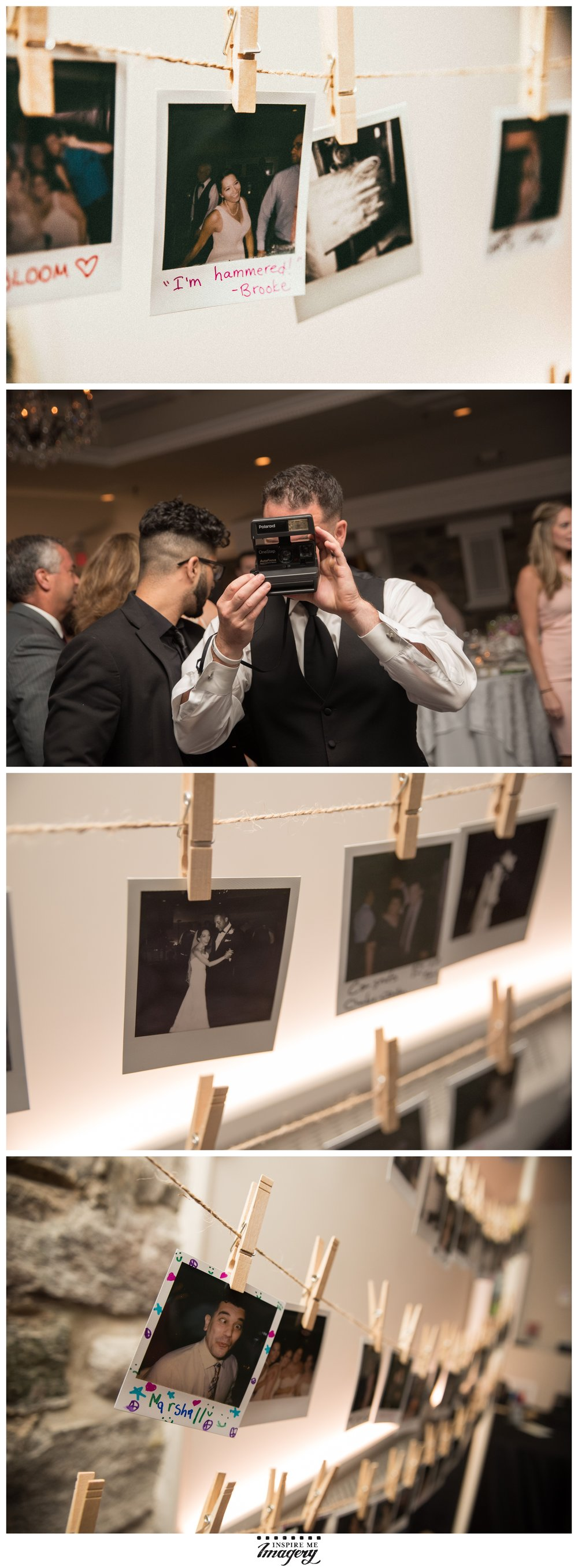 The bride and groom opted for our popular Polaroid Pin-Up service! We love the messages guests leave for the bride and groom on their polaroids.