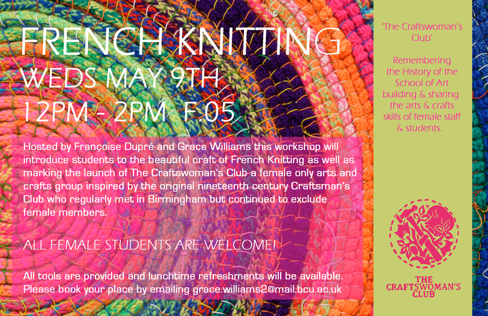 Upcoming French Knitting Workshop as part of the Craftswoman's Club