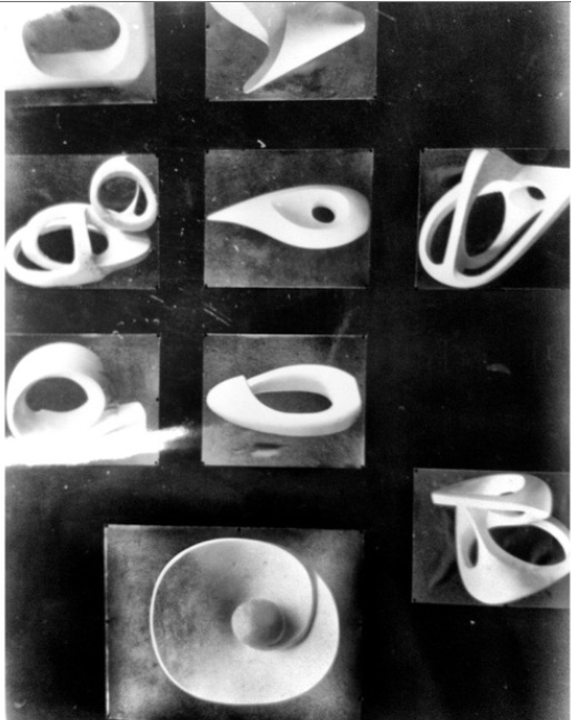 Photograph of nine images of abstract three-dimensional forms, author unknown, black and white photograph, 1957, SA/AT/26/20/14