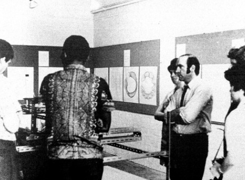 Ikon Gallery (Swallow Street), exhibition of computer drawings, black and white photograph, 1969-70