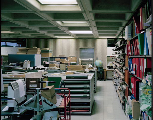 Stuart Whipps, Photograph of store room at the old Central Library in Birmingham, shown in   Reference Works   exhibition, 2013