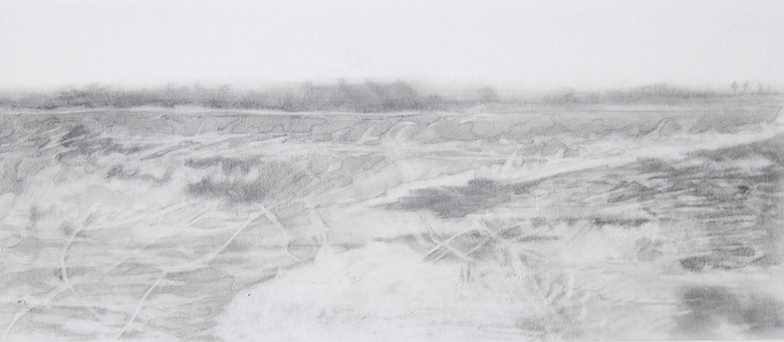 Sarah Kogan,  Gommecourt 1916 , pencil drawing on calligraphy paper, 2013.