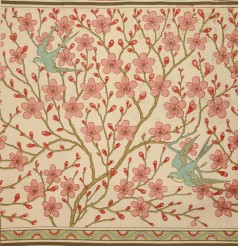 'Almond Blossom and Swallow', wallpaper designed by Walter Crane, registered by Jeffrey & Co, July 1878,