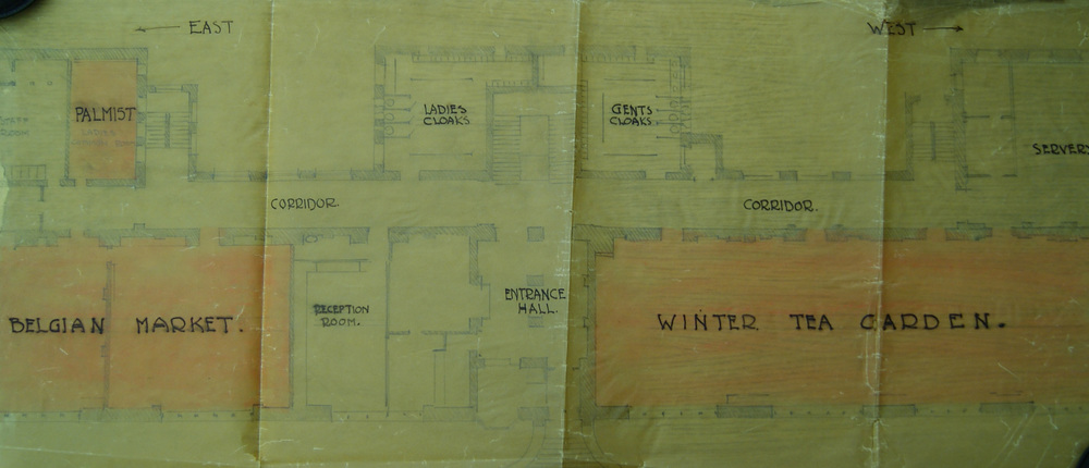 Floor plans showing the Mackintosh Building transformed for the Belgian Tryst in 1914