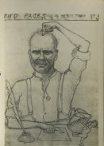 William Hunter, World War I postcard sketch, GSA Archives.