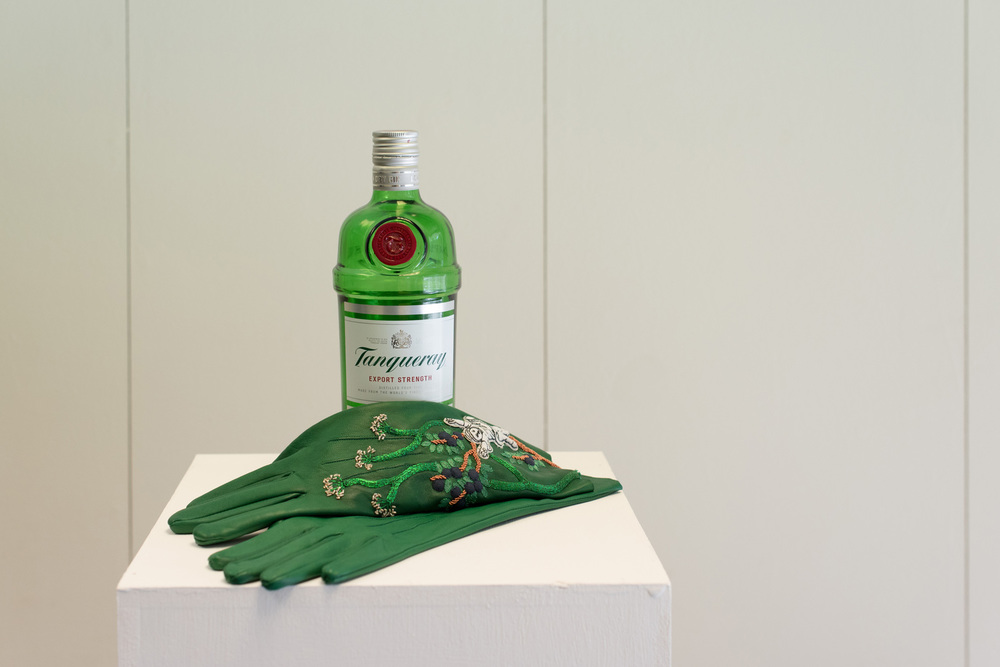 Karen Coughlan,  Gin Drinking Gloves , exhibited in  Fabric of the City , Cass Gallery, July 2015