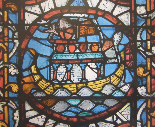 13th-century stained glass panel of Noah's Ark, east window, Lincoln Cathedral.