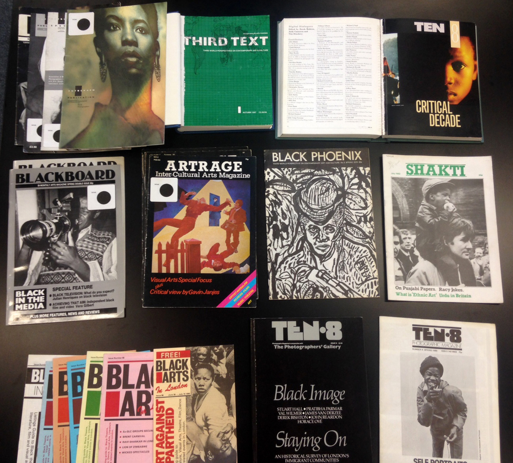 A selection of black art magazines from the Stuart Hall Library.