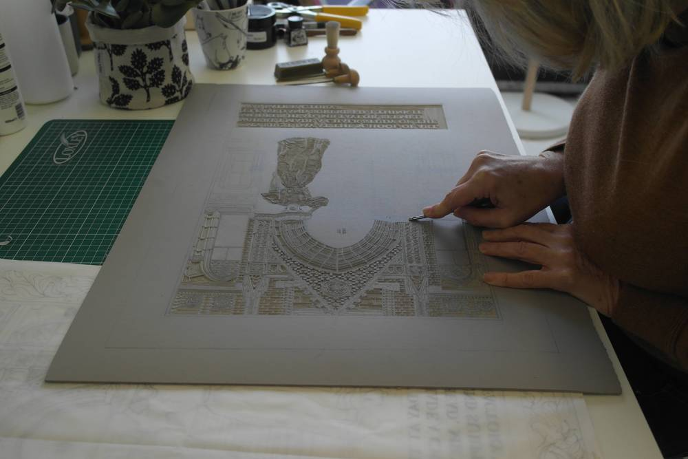 Sarah Moss, Working on the first lino cut, 2016