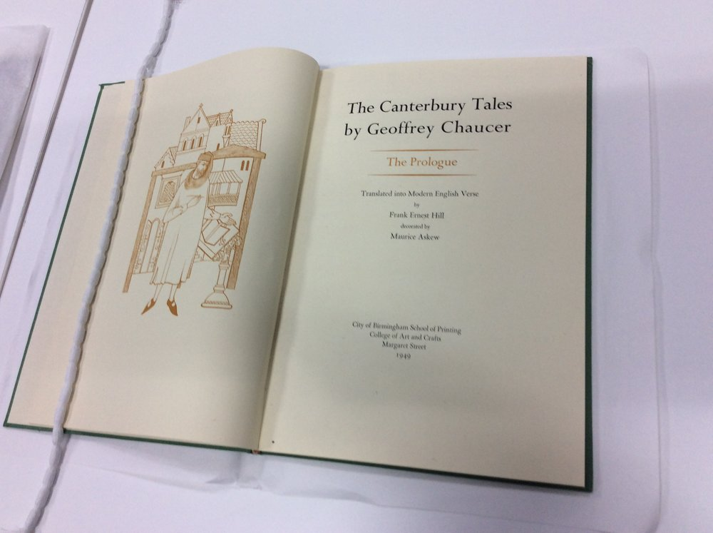 Birmingham School of Printing, Prologue to the Canterbury Tales, 1949, BCU Art & Design Archives
