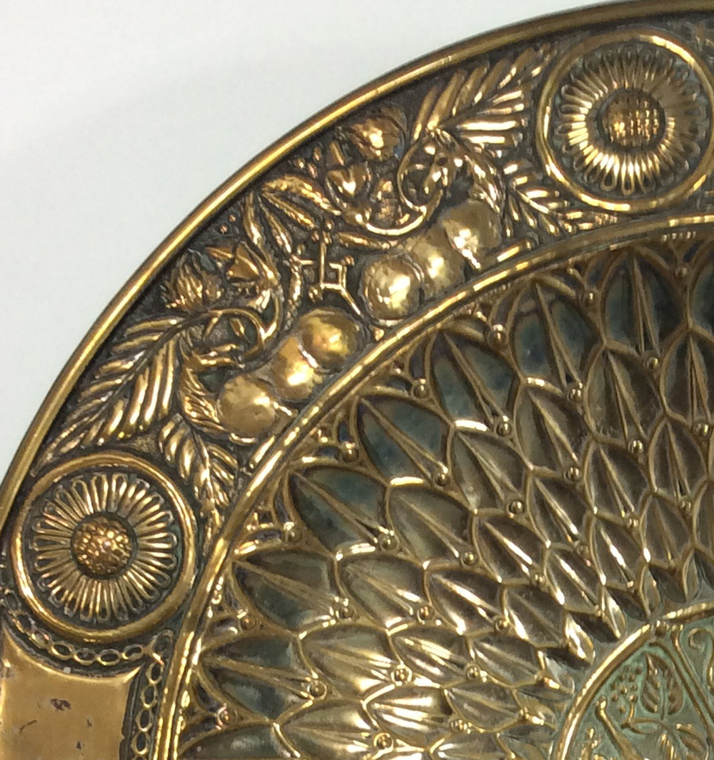 Robert Catterson-Smith, Detail of brass bowl (originally with silver gilt), c.1890s.