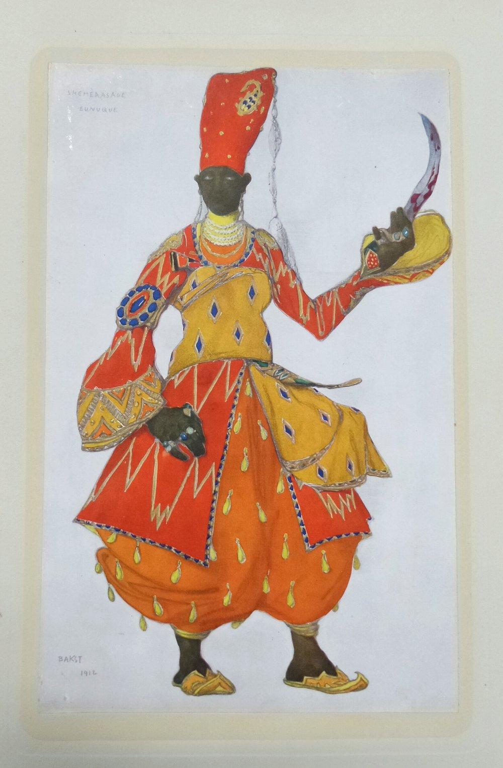 Andre Levinson,  Bakst: The Story of the Artist's Life , Plate IX,Sheherazade –first eunuch, Benjamin Blom: New York, 1923.