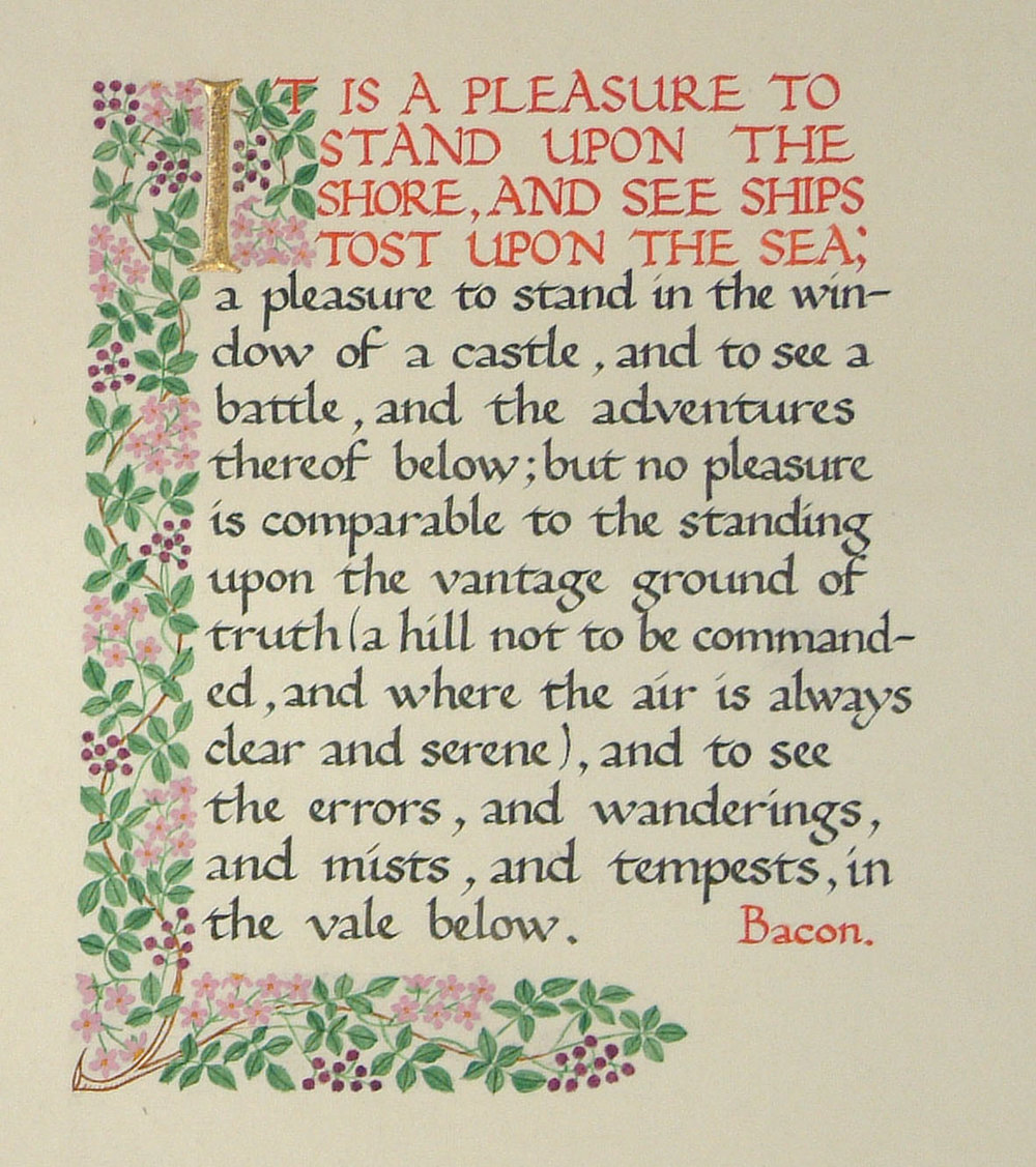 Example of calligraphy by unknown student, 1929, BCU Art & Design Archives
