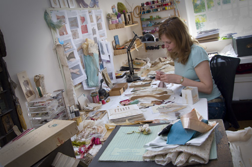 Serena Partridge at work in her studio, from artist's website.