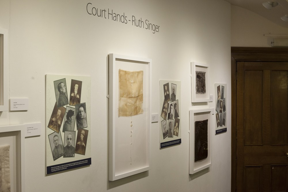 Installation shot of exhibition of Ruth Singer's exhibition  Court Hands  at the Shire Hall Gallery, Stafford, 2015.