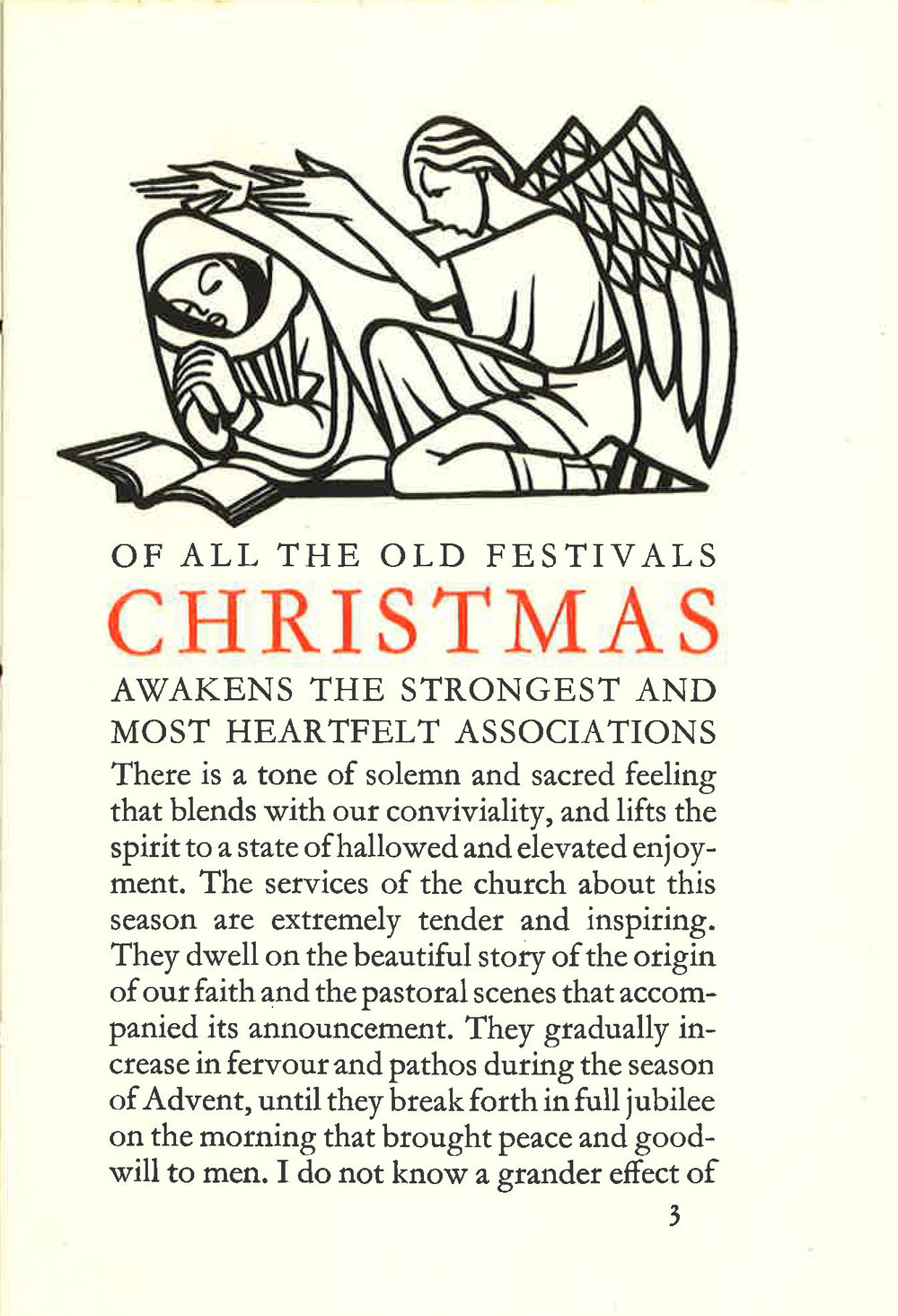 Opening passage from Washington Irving's Christmas, Birmingham School of Printing, 1936