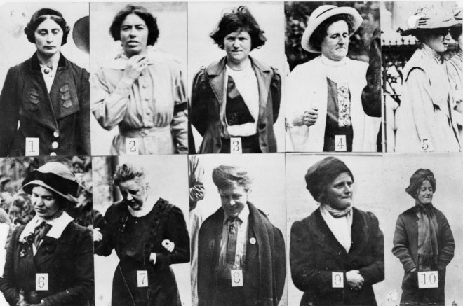 Surveillance photographs of suffragettes imprisoned in Holloway, National Archives.