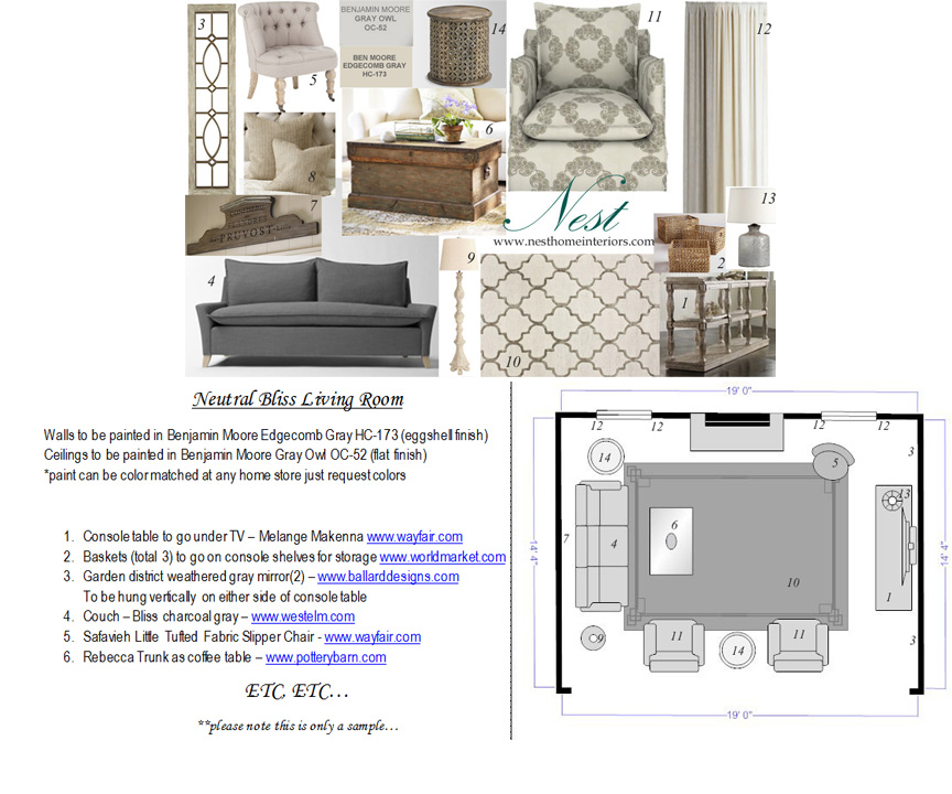 A sample living room design board, source list and floor plan