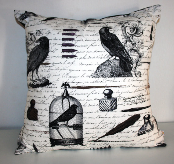 Edgar Allen Poe Raven Pillow Cover