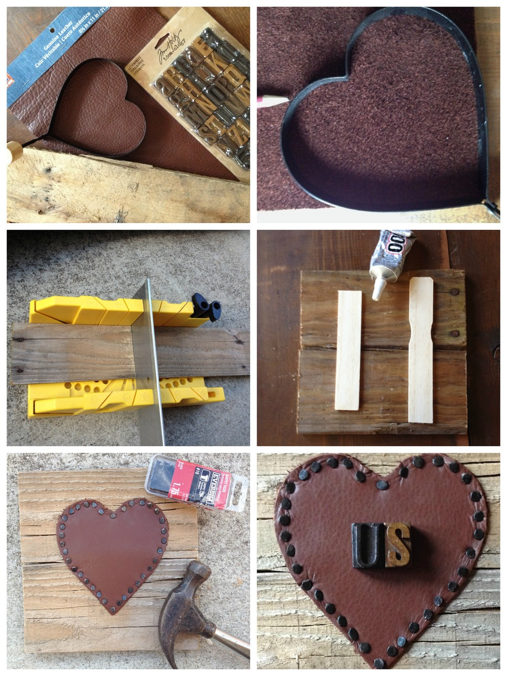 leather heart diy via nest home interiors