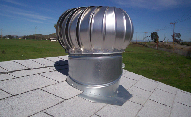 Galvanized turbine on roof.
