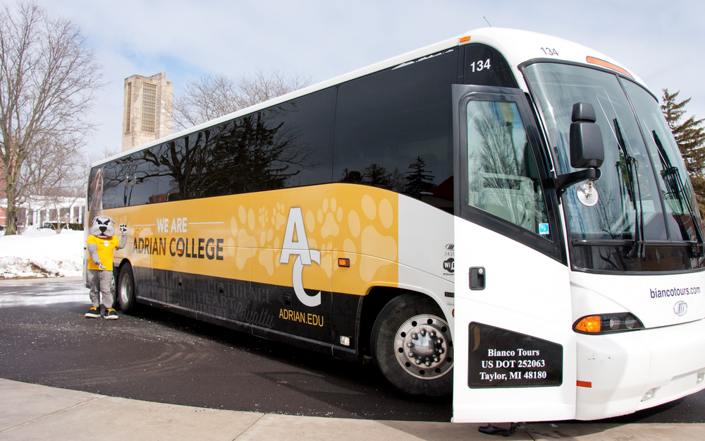 The new Bulldog Bus, provided by Bianco Bus Tours. Bus design/photo credit: Joshua Morey