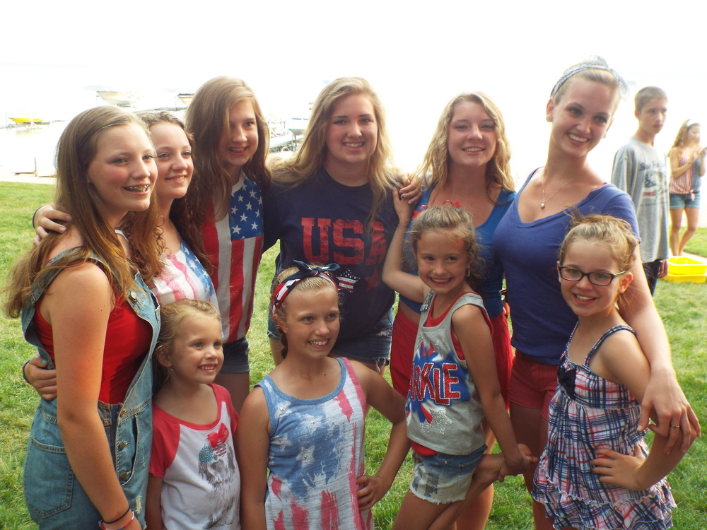 We all sport the red, white and blue!