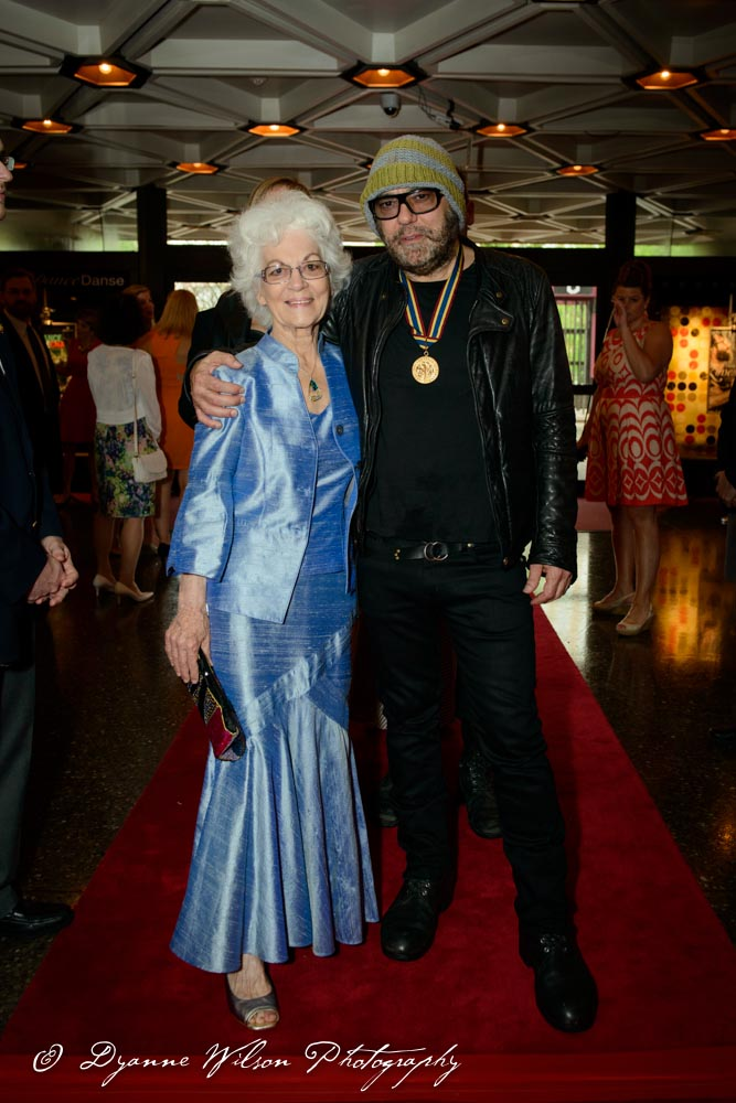 Daniel Lanois, Canadian record producer, guitarist, vocalist, and songwriter and his mother Jill