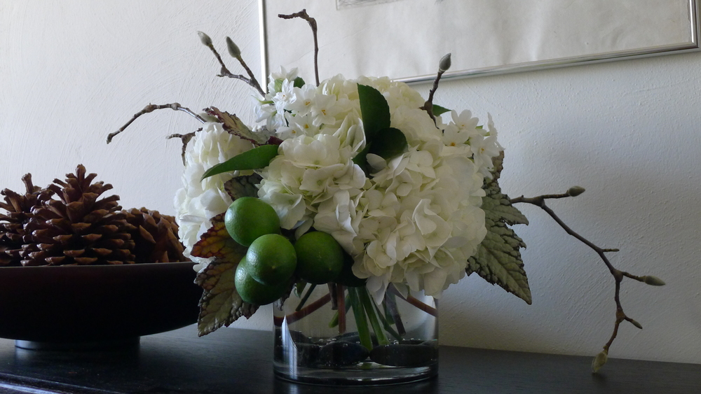 Even a few unripened baby lemons got tucked into this lovely winter arrangement...