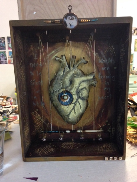 """I need to be silent for awhile, worlds are forming in my heart"" - Meister Eckhart.  Assemblage by Sara Saltee.  Professional-quality images on the way soon!"