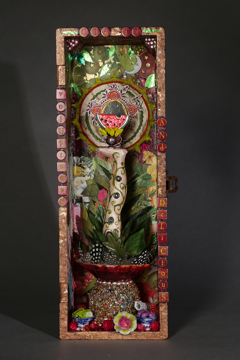 """god is voluptuous and delicious"" assemblage by sara saltee, 2017.  Photo credit:  michael stadler studios."